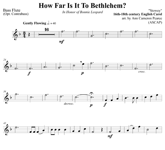 how far is it to bethlehem for flute choir download sheet music