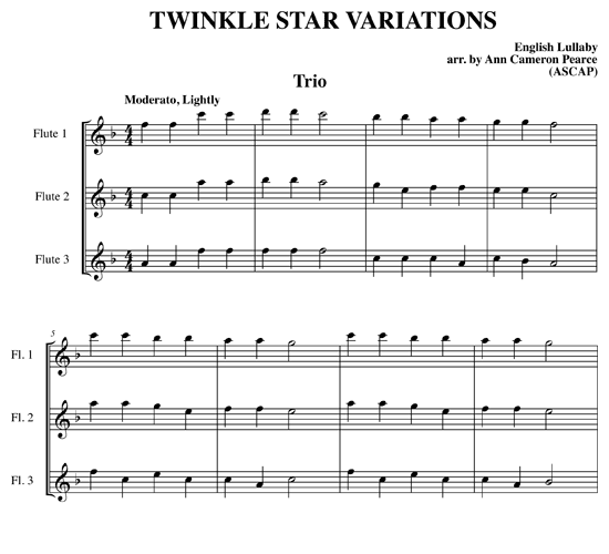 Twinkle Star Variations for flute ensemble : Download Sheet Music from ScoreVivo.com