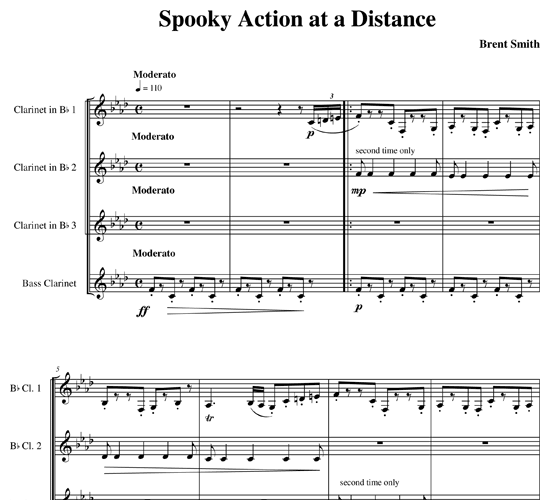 Spooky Action at a Distance for clarinet ensemble