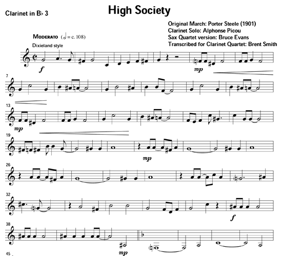 High Society For Clarinet Ensemble Download Sheet Music