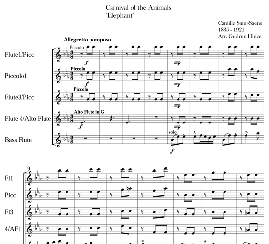 Carnival of the Animals: Hens and Roosters & The Elephant for flute ensemble