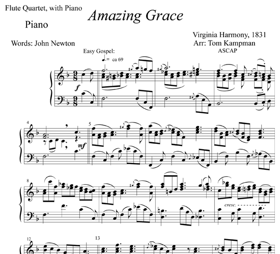 Learning Blues Piano From Music Score: Amazing Grace For Flute And Piano
