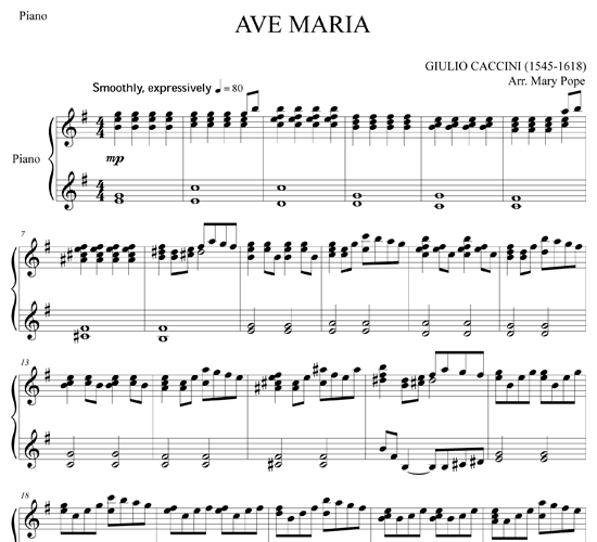 Beautiful Advanced Piano Sheet Music: Ave Maria For Flute Quintet & Piano By Caccini