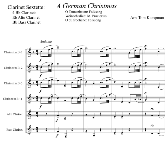 Clarinet Sheet Music Christmas.A German Christmas For Clarinet Sextet