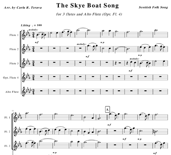 Annie's song sheet music for flute, piano download free in pdf or midi.