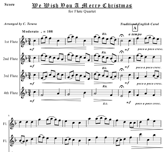 We Wish You A Merry Christmas Song.We Wish You A Merry Christmas For Flute Quartet