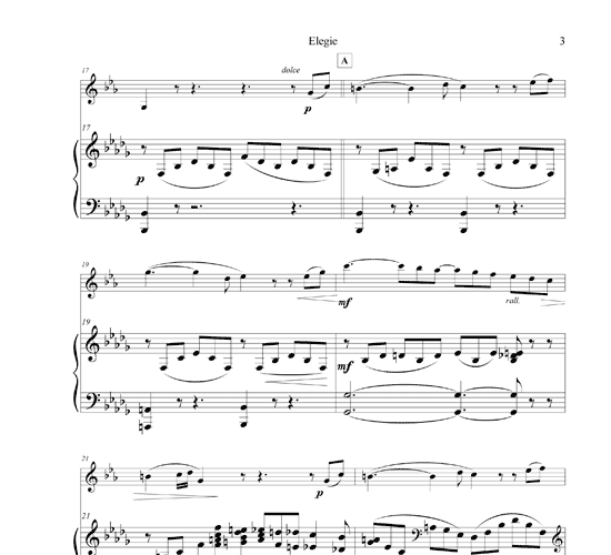 Beautiful Advanced Piano Sheet Music: Elegie For Clarinet And Piano